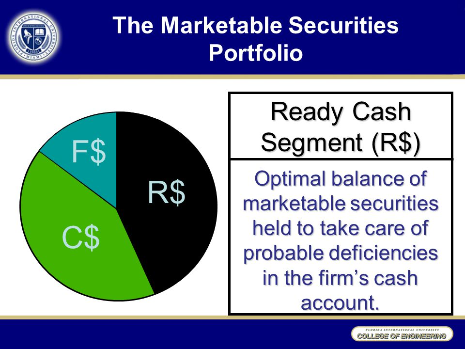 The Marketable Securities Portfolio Ready Cash Segment (R$) Optimal balance of marketable securities held to take care of probable deficiencies in the firm's cash account.