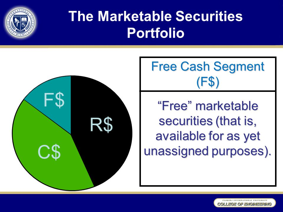 Free Cash Segment (F$) Free marketable securities (that is, available for as yet unassigned purposes).