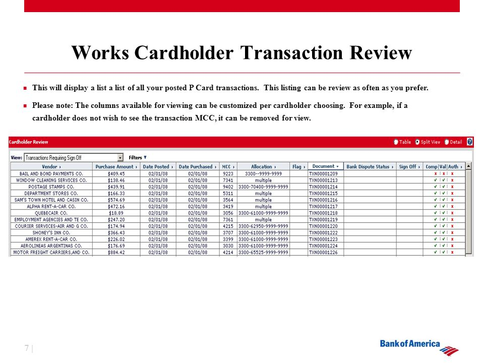 7 | Works Cardholder Transaction Review This will display a list a list of all your posted P Card transactions.