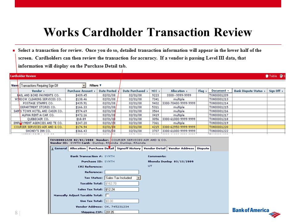 8 | Works Cardholder Transaction Review Select a transaction for review.