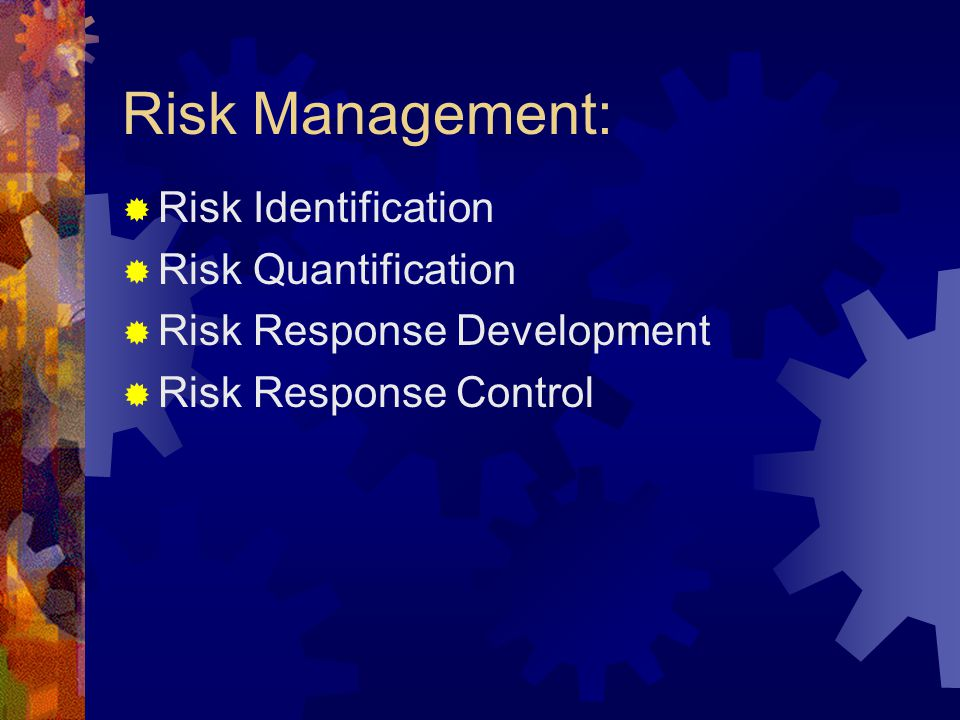 Risk Management:  Risk Identification  Risk Quantification  Risk Response Development  Risk Response Control