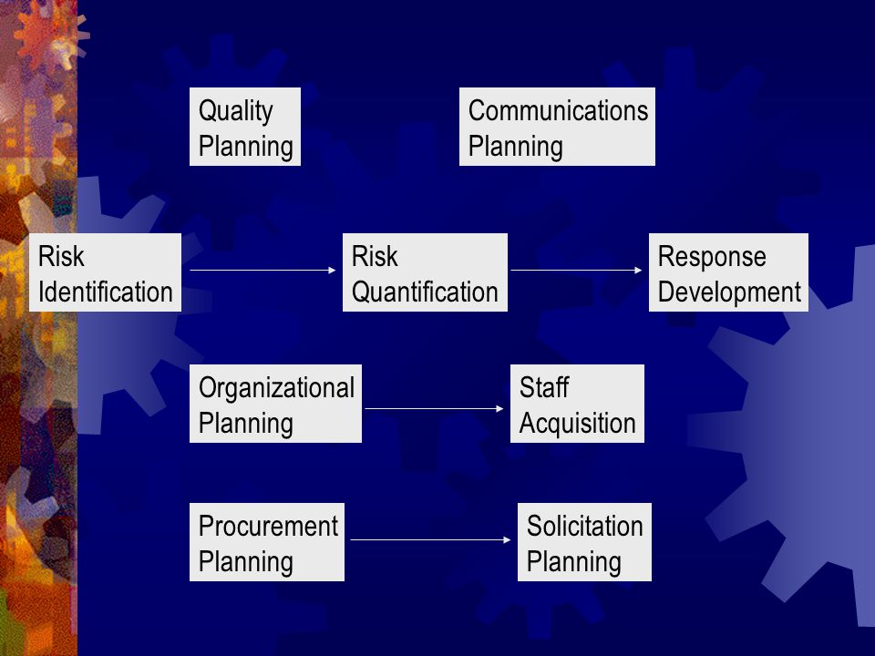 Quality Planning Communications Planning Risk Identification Risk Quantification Response Development Organizational Planning Staff Acquisition Procurement Planning Solicitation Planning
