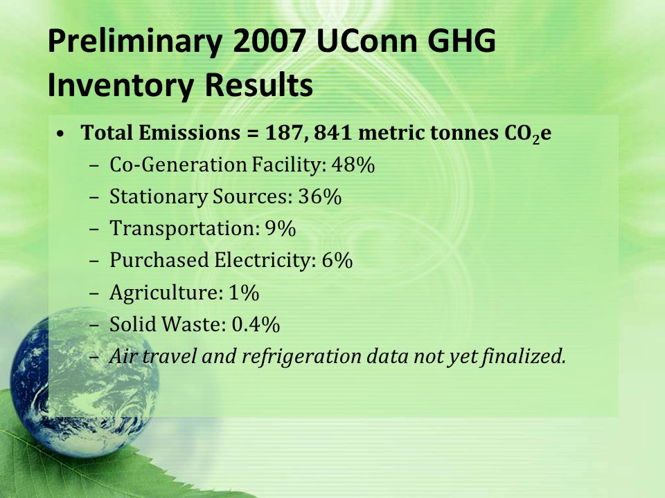 Preliminary 2007 UConn GHG Inventory Results Total Emissions = 187, 841 metric tonnes CO 2 e –Co-Generation Facility: 48% –Stationary Sources: 36% –Transportation: 9% –Purchased Electricity: 6% –Agriculture: 1% –Solid Waste: 0.4% –Air travel and refrigeration data not yet finalized.