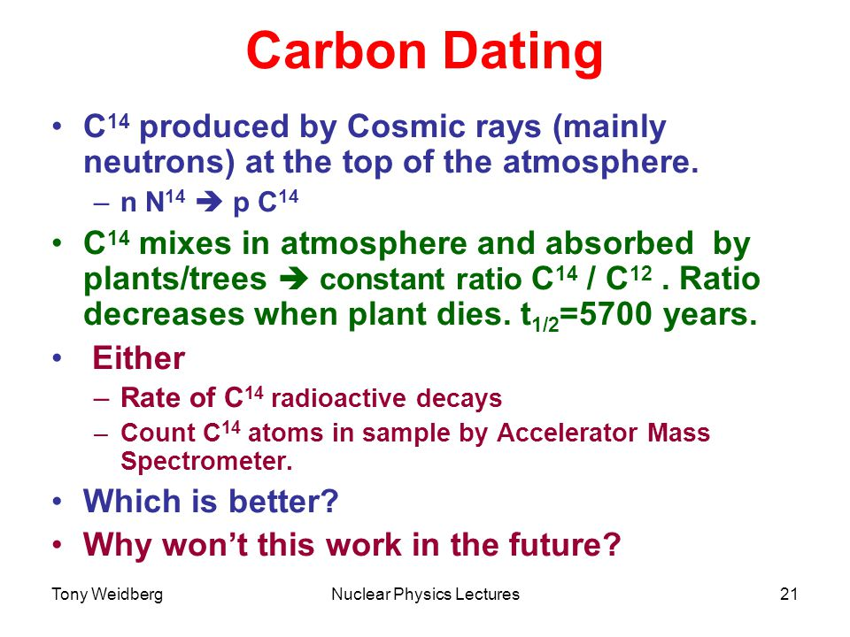 Tony WeidbergNuclear Physics Lectures21 Carbon Dating C 14 produced by Cosmic rays (mainly neutrons) at the top of the atmosphere.