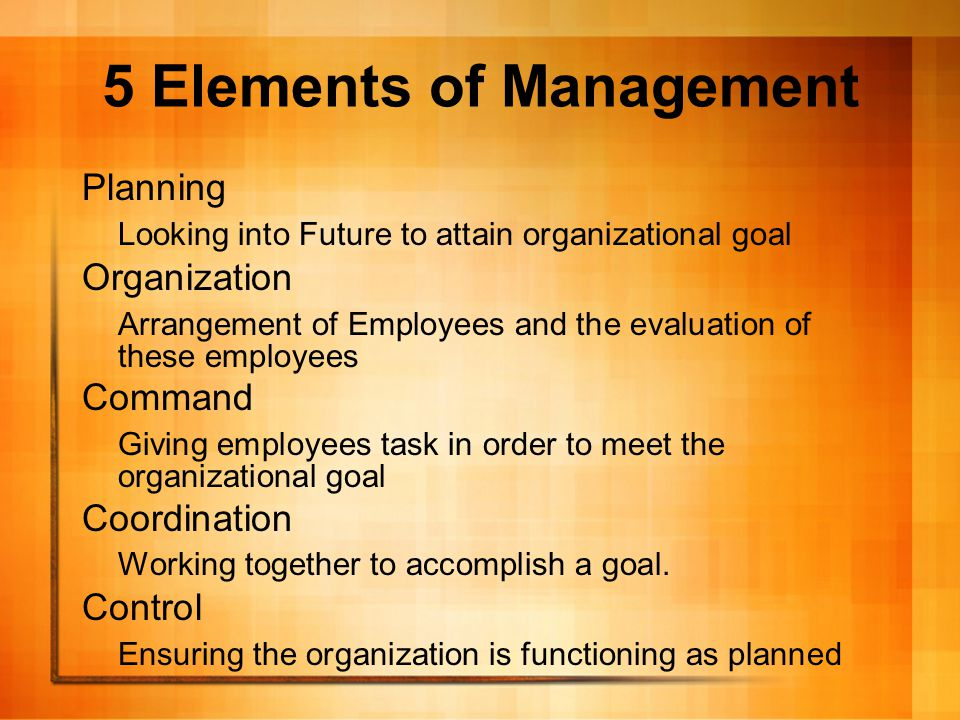5 Elements of Management Planning Looking into Future to attain organizational goal Organization Arrangement of Employees and the evaluation of these