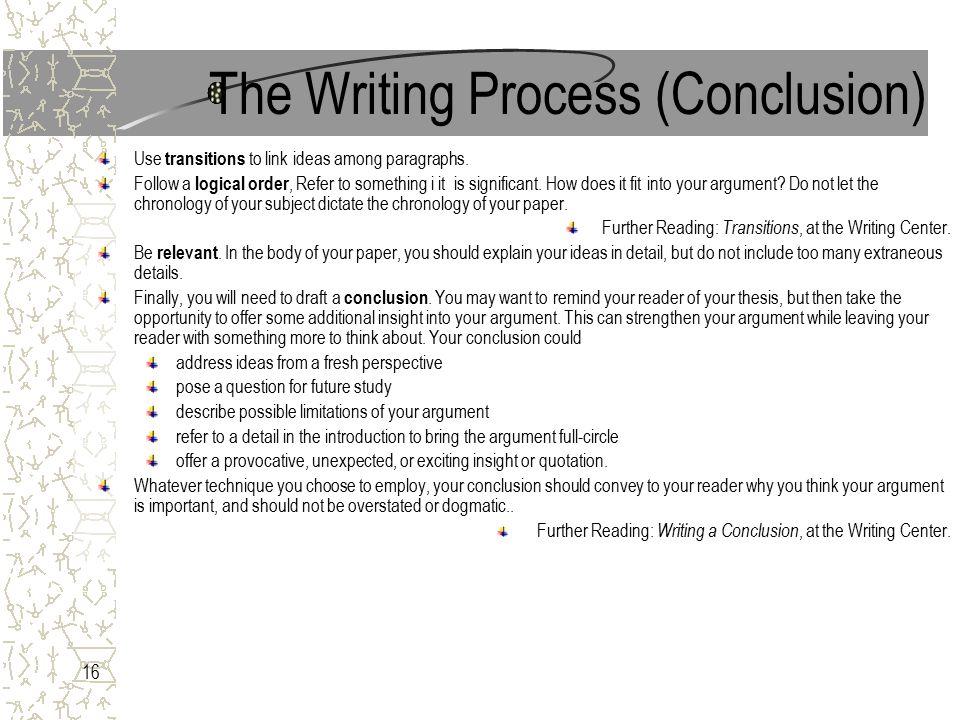 Process essay transitions