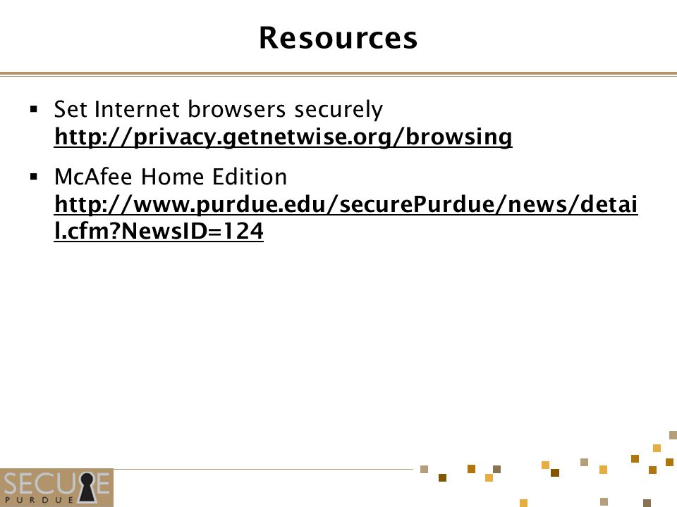 Resources  Set Internet browsers securely      McAfee Home Edition   l.cfm NewsID=124