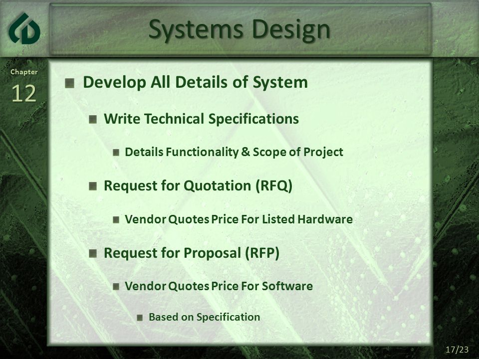 Chapter12 17/23 Systems Design Develop All Details of System Write Technical Specifications Details Functionality & Scope of Project Request for Quotation (RFQ) Vendor Quotes Price For Listed Hardware Request for Proposal (RFP) Vendor Quotes Price For Software Based on Specification