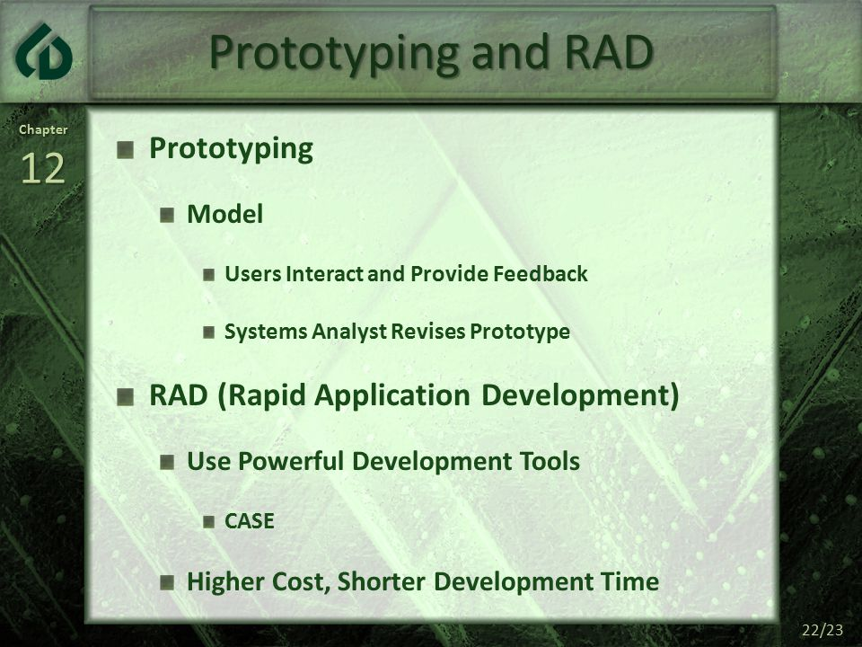 Chapter12 22/23 Prototyping and RAD Prototyping Model Users Interact and Provide Feedback Systems Analyst Revises Prototype RAD (Rapid Application Development) Use Powerful Development Tools CASE Higher Cost, Shorter Development Time