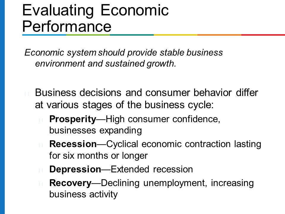 Evaluating Economic Performance Economic system should provide stable business environment and sustained growth.