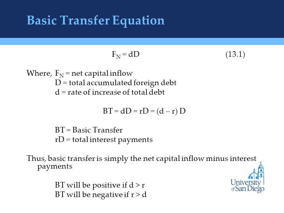 Basic Transfer Equation F N = dD(13.1) Where, F N = net capital inflow D = total accumulated foreign debt d = rate of increase of total debt BT = dD = rD = (d – r) D BT = Basic Transfer rD = total interest payments Thus, basic transfer is simply the net capital inflow minus interest payments BT will be positive if d > r BT will be negative if r > d