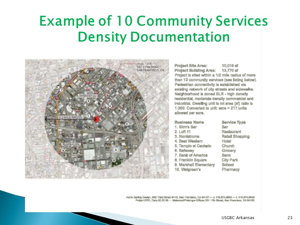 USGBC Arkansas23 Example of 10 Community Services Density Documentation