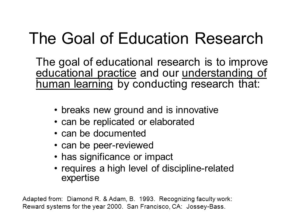 The Goal of Education Research The goal of educational research is to improve educational practice and our understanding of human learning by conducting research that: breaks new ground and is innovative can be replicated or elaborated can be documented can be peer-reviewed has significance or impact requires a high level of discipline-related expertise Adapted from: Diamond R.