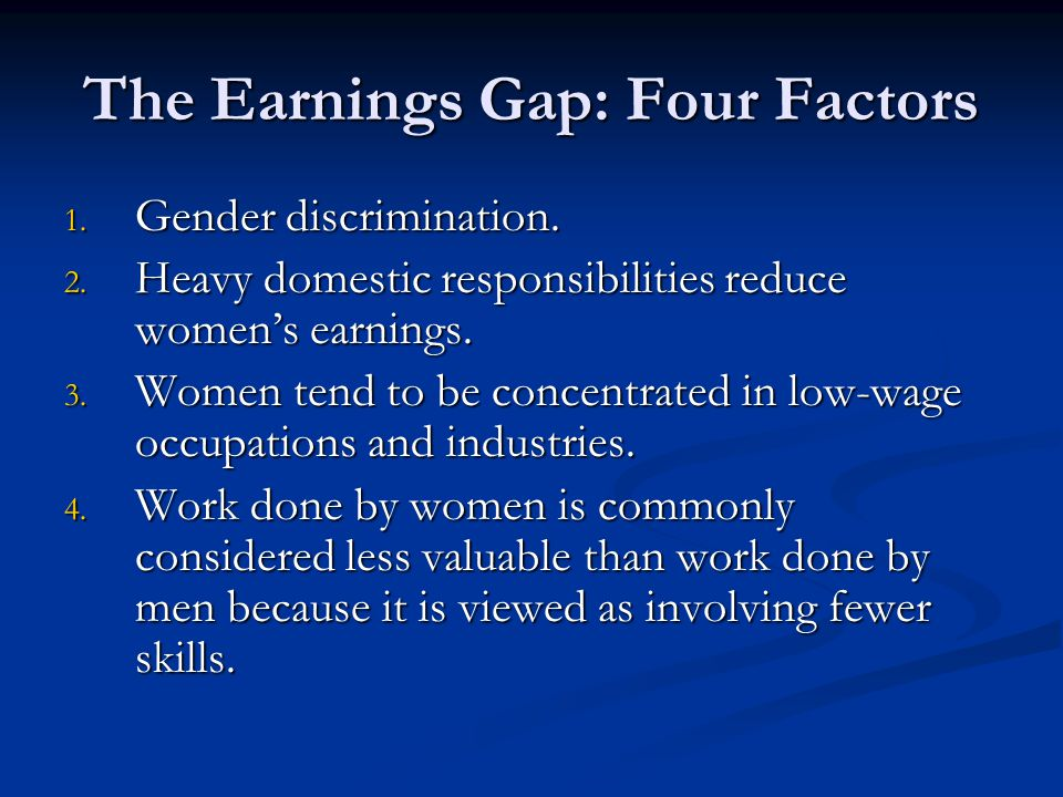 The Earnings Gap: Four Factors 1. Gender discrimination.