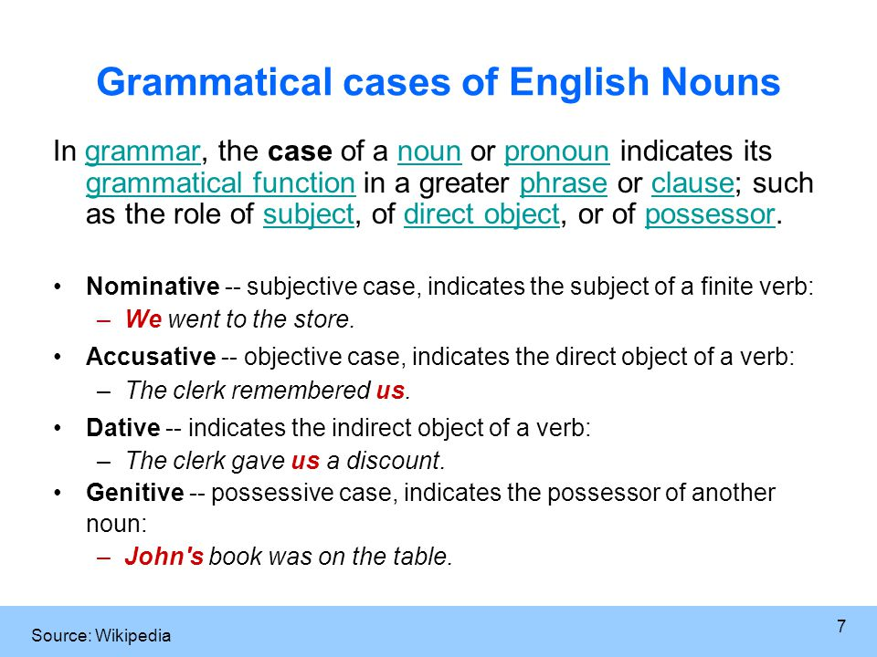 7 Grammatical cases of English Nouns In grammar, the case of a noun or pronoun indicates its grammatical function in a greater phrase or clause; such as the role of subject, of direct object, or of possessor.grammarnounpronoun grammatical functionphraseclausesubjectdirect objectpossessor Nominative -- subjective case, indicates the subject of a finite verb: –We went to the store.