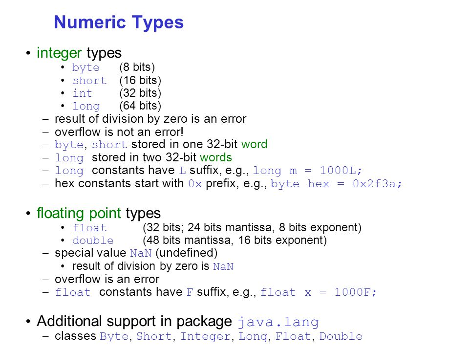 Numeric Types integer types byte (8 bits) short (16 bits) int (32 bits) long (64 bits) – result of division by zero is an error – overflow is not an error.