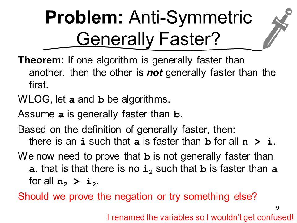 Problem: Anti-Symmetric Generally Faster.