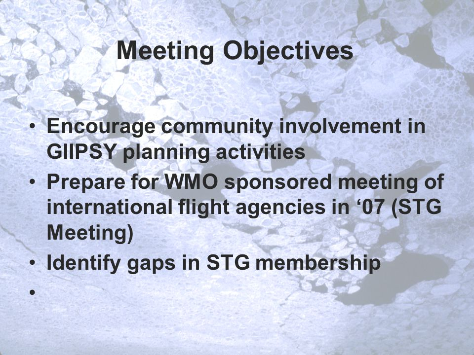 Meeting Objectives Encourage community involvement in GIIPSY planning activities Prepare for WMO sponsored meeting of international flight agencies in '07 (STG Meeting) Identify gaps in STG membership