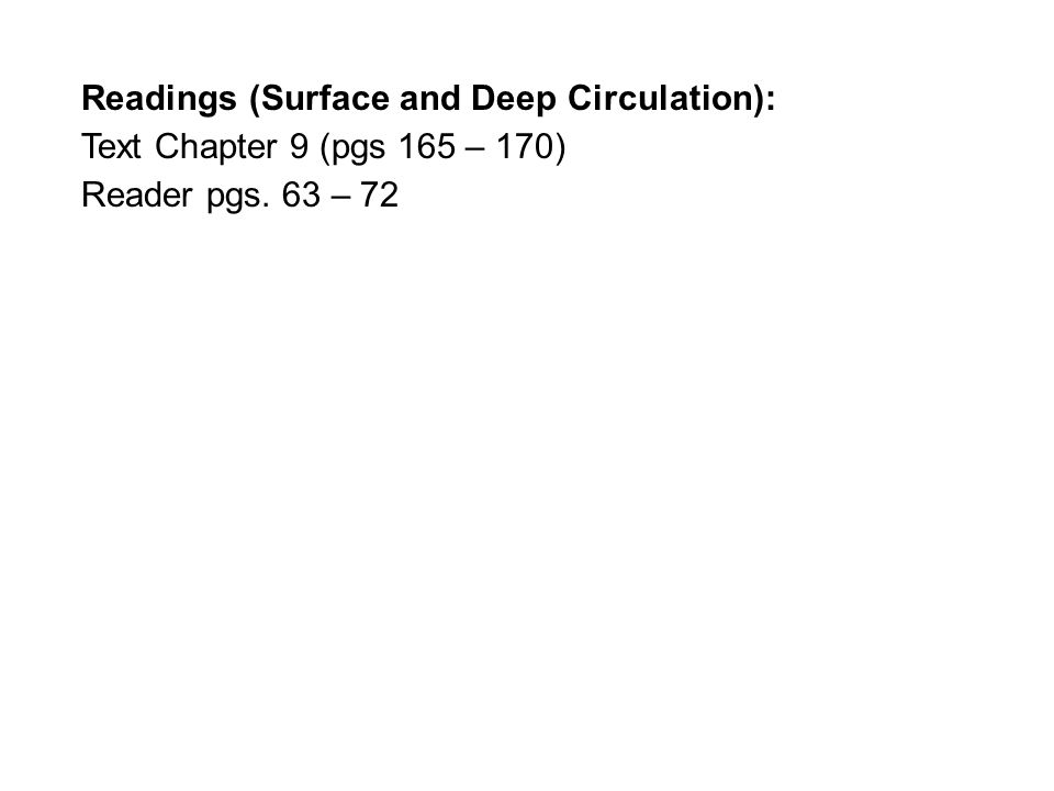 Readings (Surface and Deep Circulation): Text Chapter 9 (pgs 165 – 170) Reader pgs. 63 – 72