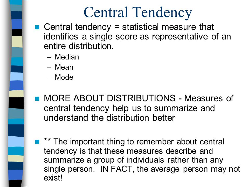Worksheets Central Tendency lecture 3 central tendency and variability statistical measure that identifies a single score as representative of an