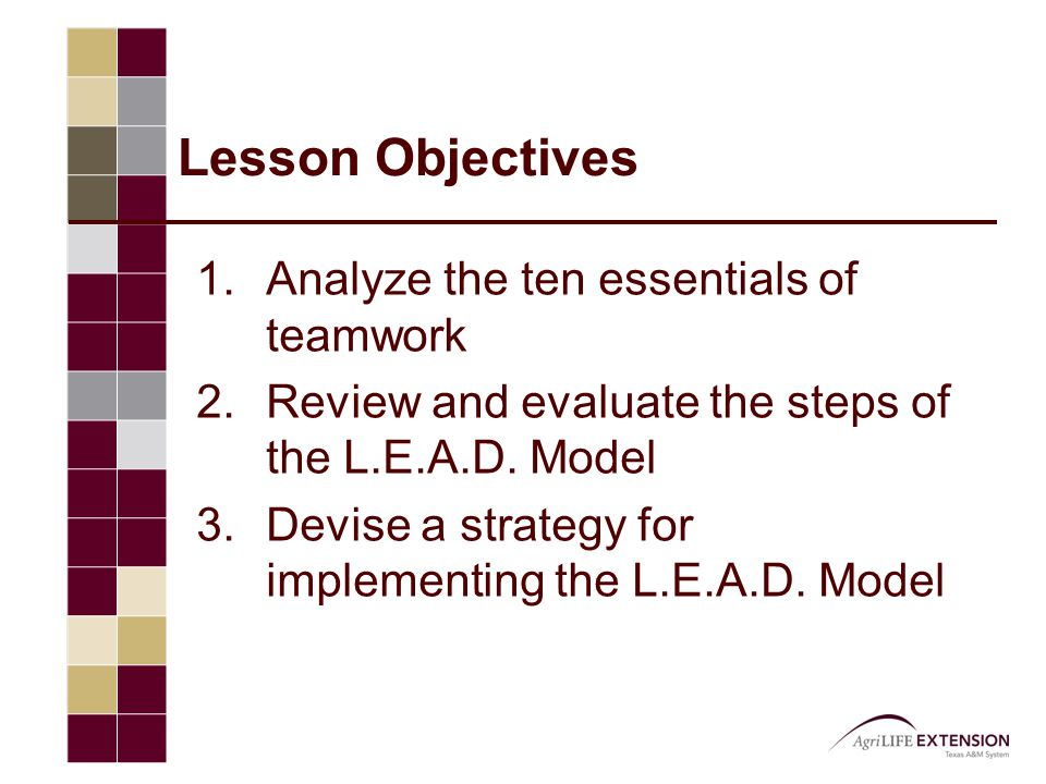 Lesson Objectives 1.Analyze the ten essentials of teamwork 2.Review and evaluate the steps of the L.E.A.D. Model 3.Devise a strategy for implementing