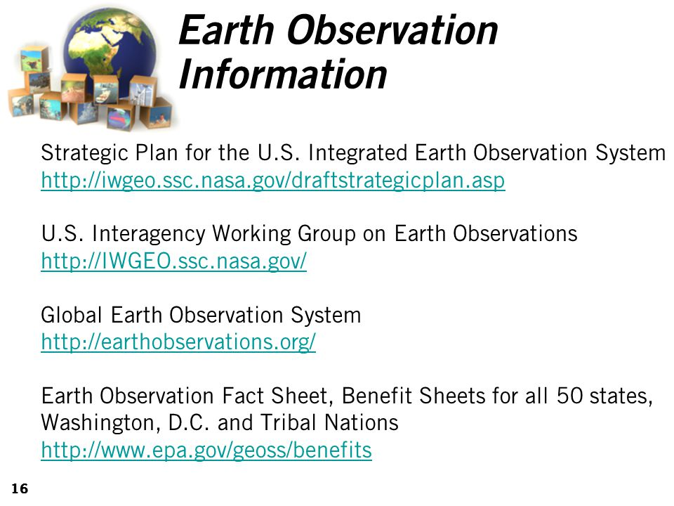 16 Earth Observation Information Strategic Plan for the U.S.