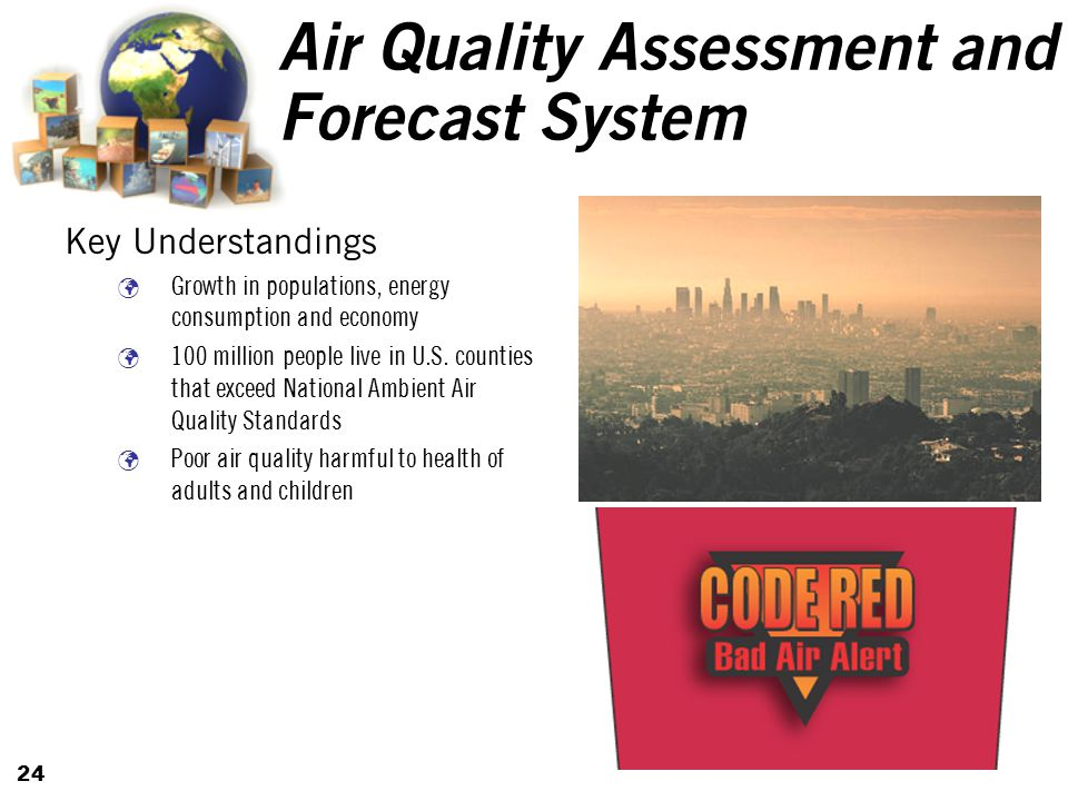 24 Air Quality Assessment and Forecast System Key Understandings Growth in populations, energy consumption and economy 100 million people live in U.S.