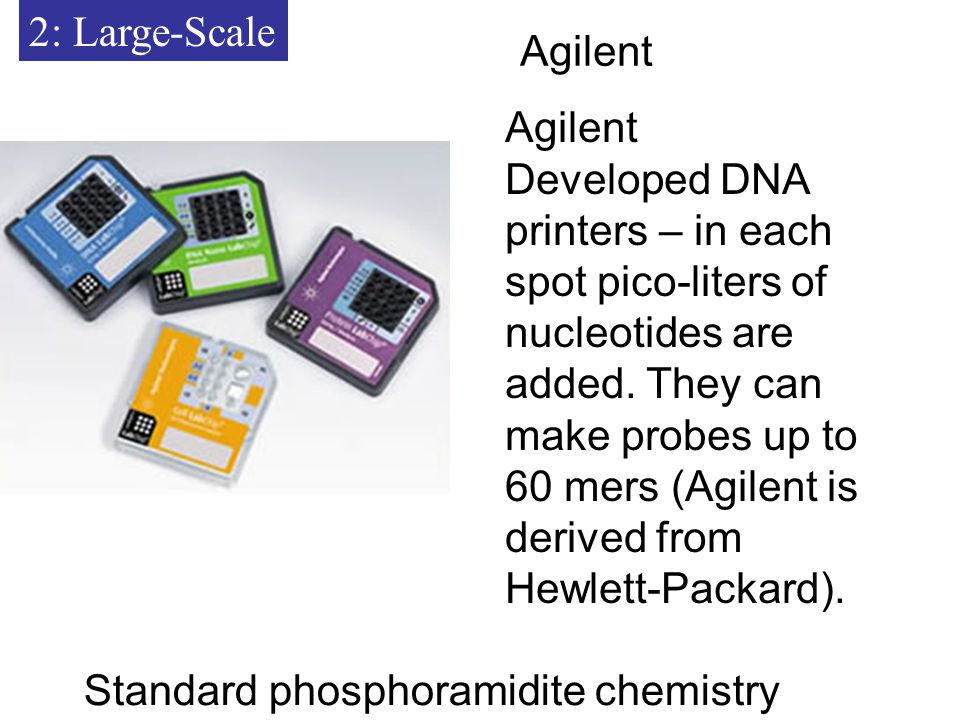 2: Large-Scale Agilent Developed DNA printers – in each spot pico-liters of nucleotides are added.