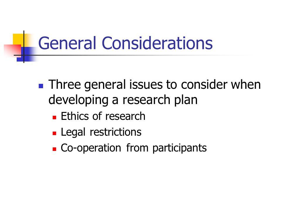 Developing a research plan