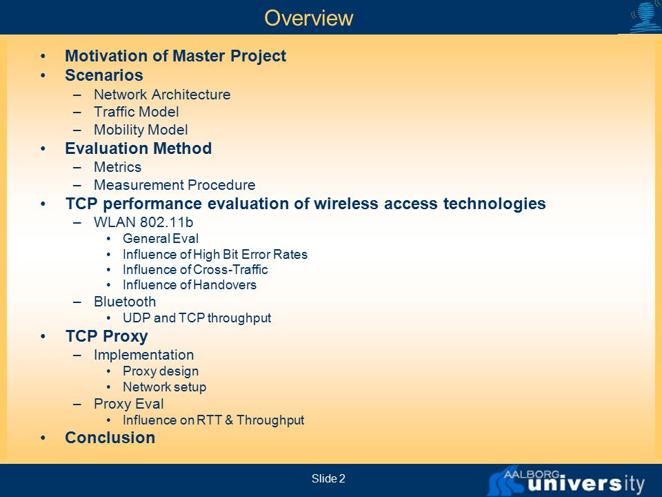 Master thesis on wireless networks