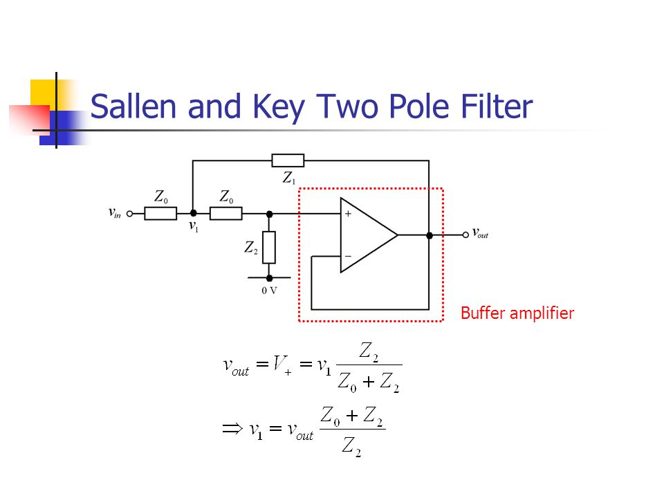 Sallen and Key Two Pole Filter Buffer amplifier