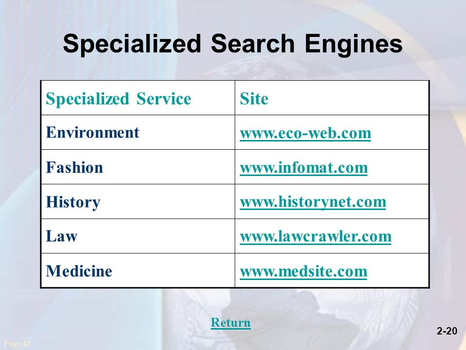 2-20 Specialized Search Engines Page 42 Specialized ServiceSite Environment   Fashionwww.infomat.com History   Lawwww.lawcrawler.com Medicinewww.medsite.com Return