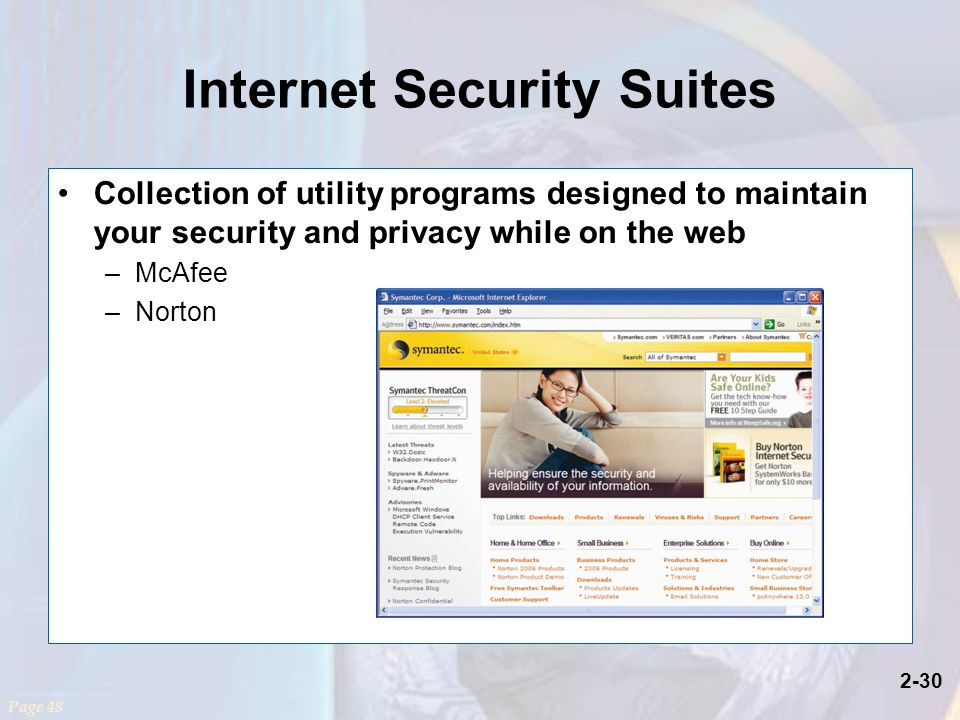 2-30 Internet Security Suites Collection of utility programs designed to maintain your security and privacy while on the web –McAfee –Norton Page 48