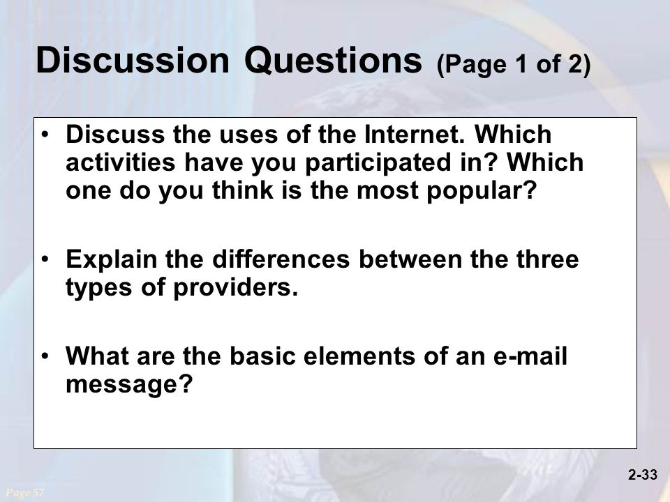 2-33 Discuss the uses of the Internet. Which activities have you participated in.