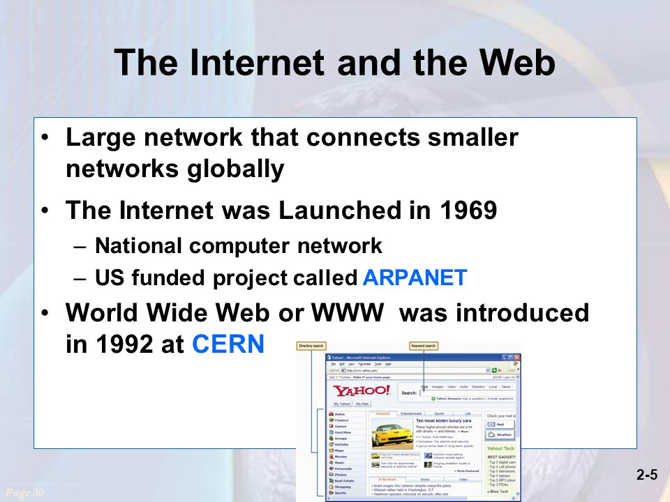 2-5 The Internet and the Web Large network that connects smaller networks globally The Internet was Launched in 1969 –National computer network –US funded project called ARPANET World Wide Web or WWW was introduced in 1992 at CERN Page 30