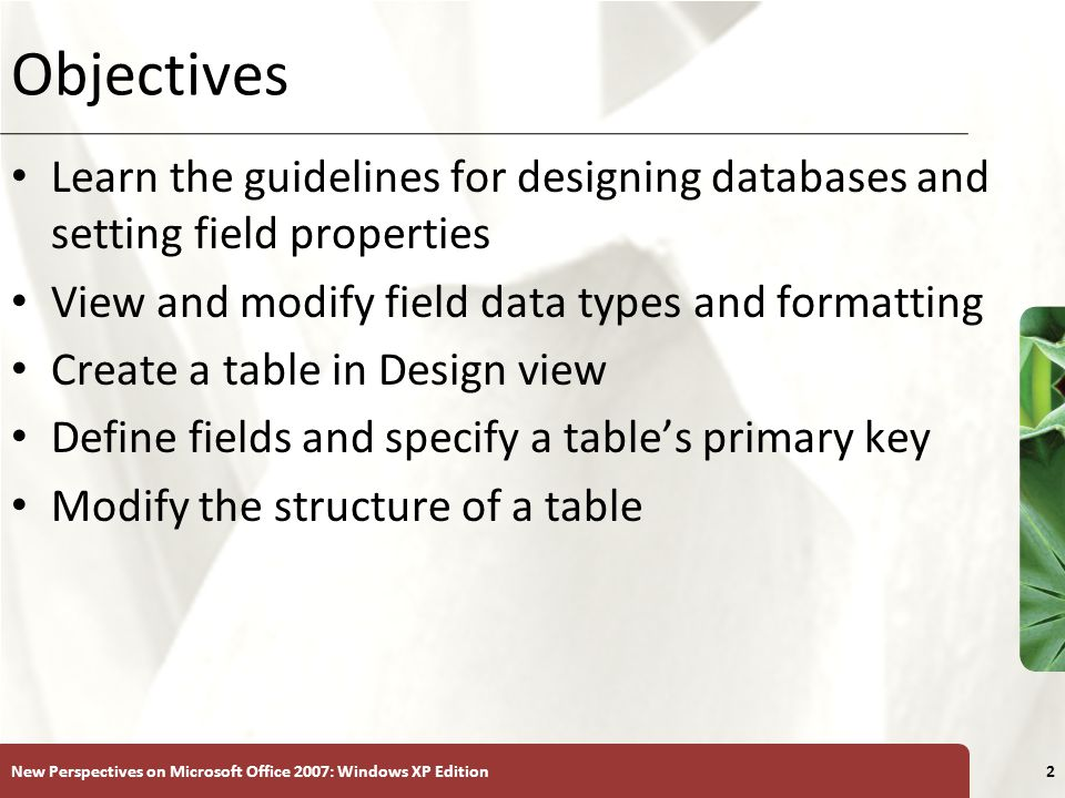 XP New Perspectives on Microsoft Office 2007: Windows XP Edition2 Objectives Learn the guidelines for designing databases and setting field properties View and modify field data types and formatting Create a table in Design view Define fields and specify a table's primary key Modify the structure of a table
