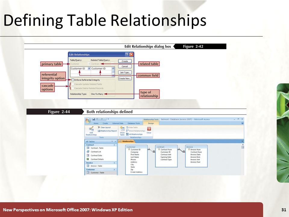 XP New Perspectives on Microsoft Office 2007: Windows XP Edition31 Defining Table Relationships