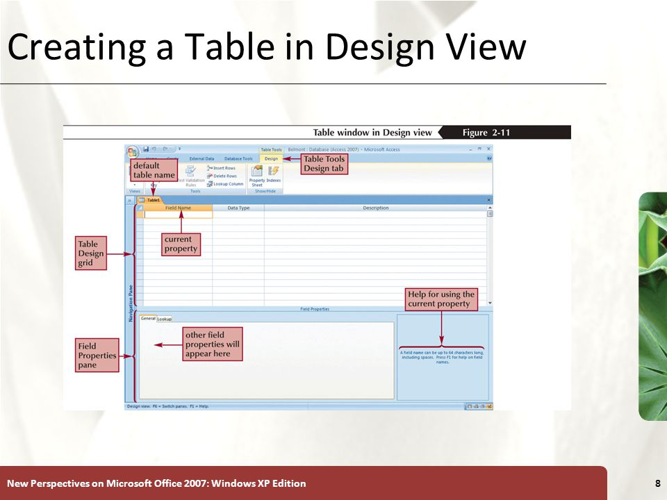 XP New Perspectives on Microsoft Office 2007: Windows XP Edition8 Creating a Table in Design View