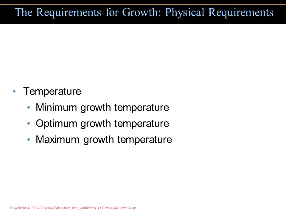 Copyright © 2004 Pearson Education, Inc., publishing as Benjamin Cummings Temperature Minimum growth temperature Optimum growth temperature Maximum growth temperature The Requirements for Growth: Physical Requirements