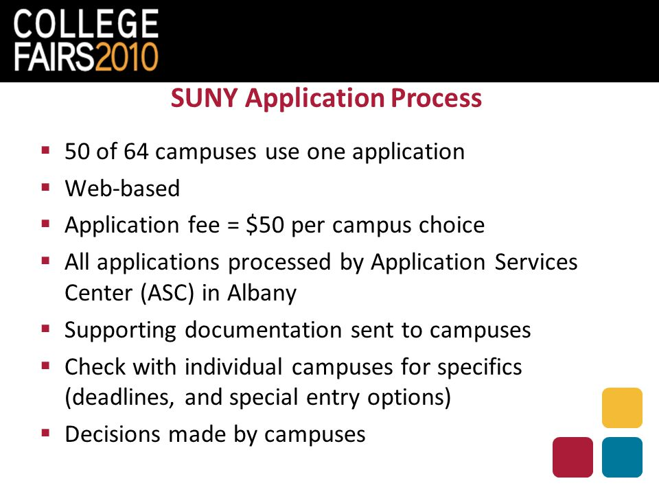 SUNY Application Process  50 of 64 campuses use one application  Web-based  Application fee = $50 per campus choice  All applications processed by Application Services Center (ASC) in Albany  Supporting documentation sent to campuses  Check with individual campuses for specifics (deadlines, and special entry options)  Decisions made by campuses