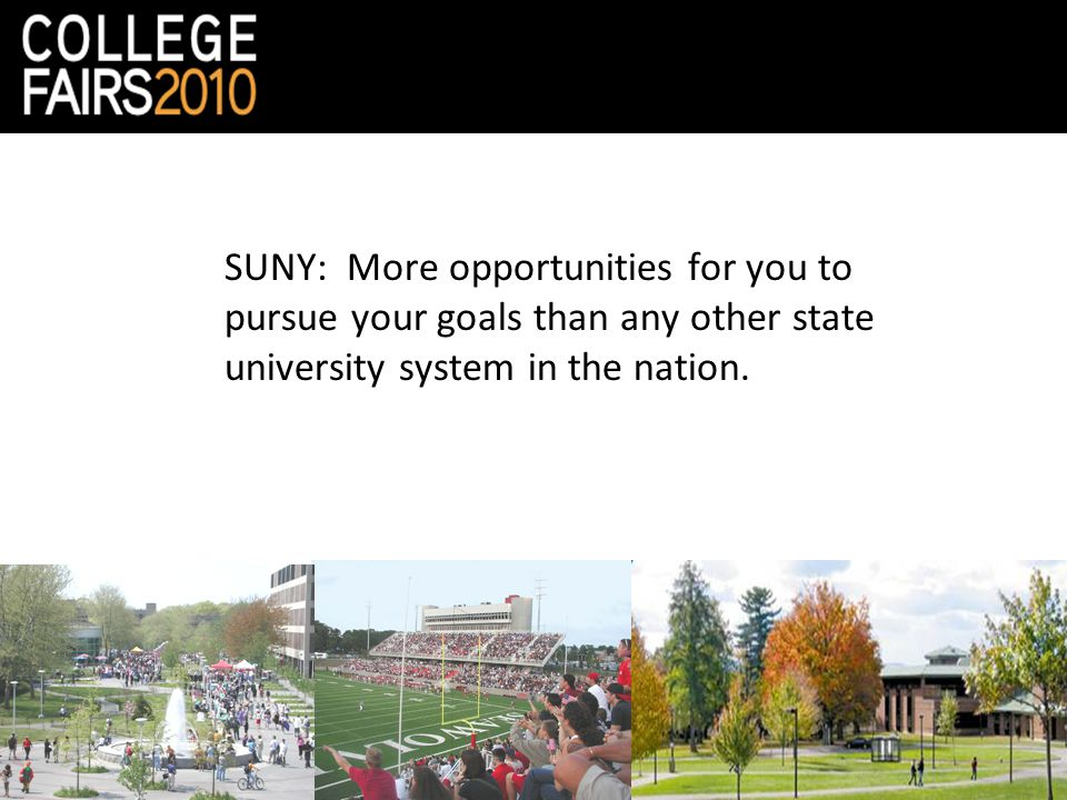 SUNY: More opportunities for you to pursue your goals than any other state university system in the nation.