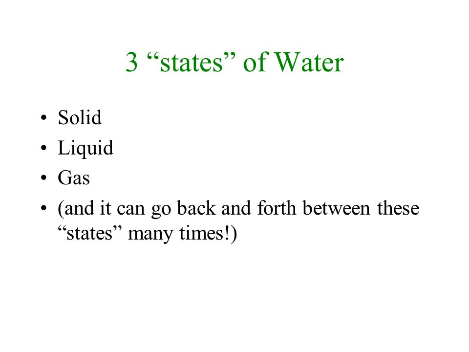 3 states of Water Solid Liquid Gas (and it can go back and forth between these states many times!)