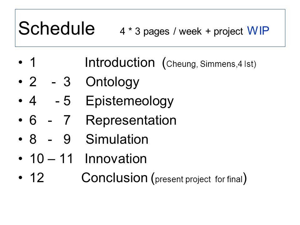 Schedule 4 * 3 pages / week + project WIP 1 Introduction ( Cheung, Simmens,4 Ist) 2 - 3 Ontology 4 - 5 Epistemeology 6 - 7 Representation 8 - 9 Simulation 10 – 11 Innovation 12 Conclusion ( present project for final )