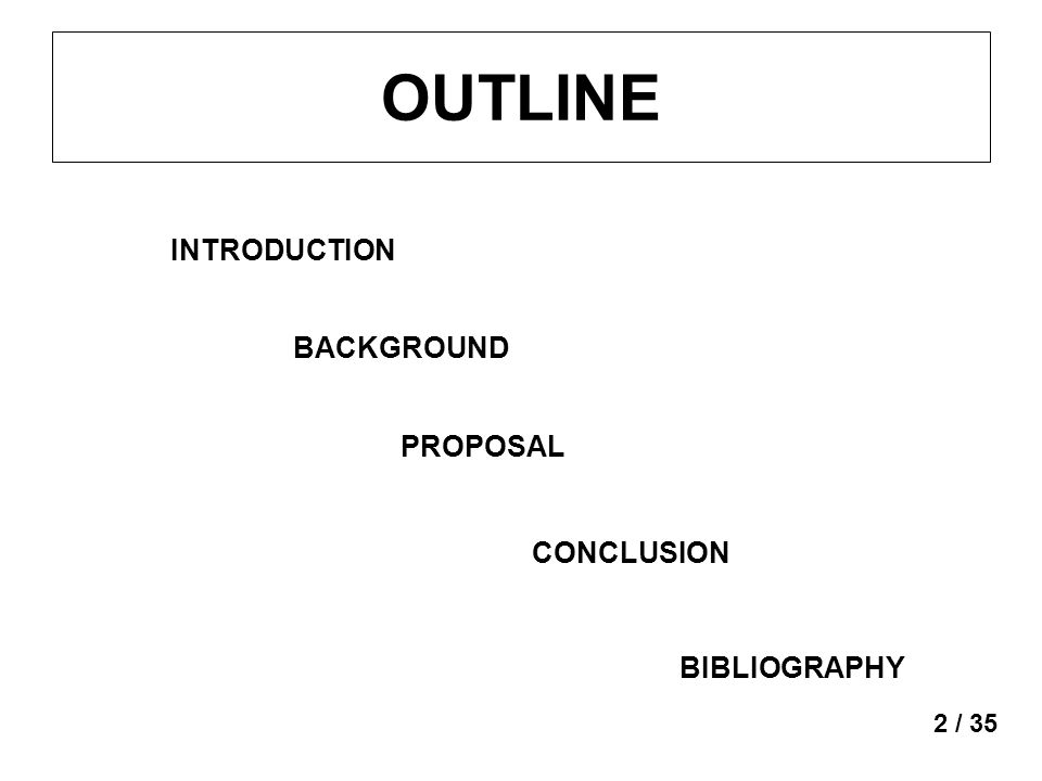 OUTLINE INTRODUCTION BACKGROUND PROPOSAL CONCLUSION BIBLIOGRAPHY 2 / 35