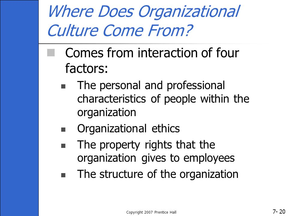 7- Copyright 2007 Prentice Hall 20 Where Does Organizational Culture Come From.