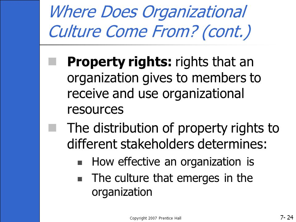 7- Copyright 2007 Prentice Hall 24 Where Does Organizational Culture Come From.