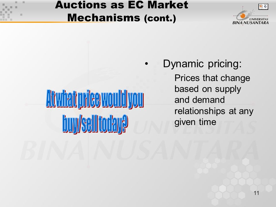 11 Auctions as EC Market Mechanisms (cont.) Dynamic pricing: Prices that change based on supply and demand relationships at any given time
