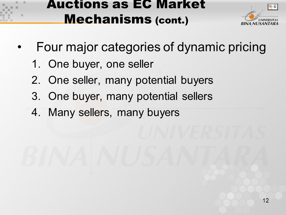 12 Auctions as EC Market Mechanisms (cont.) Four major categories of dynamic pricing 1.One buyer, one seller 2.One seller, many potential buyers 3.One buyer, many potential sellers 4.Many sellers, many buyers