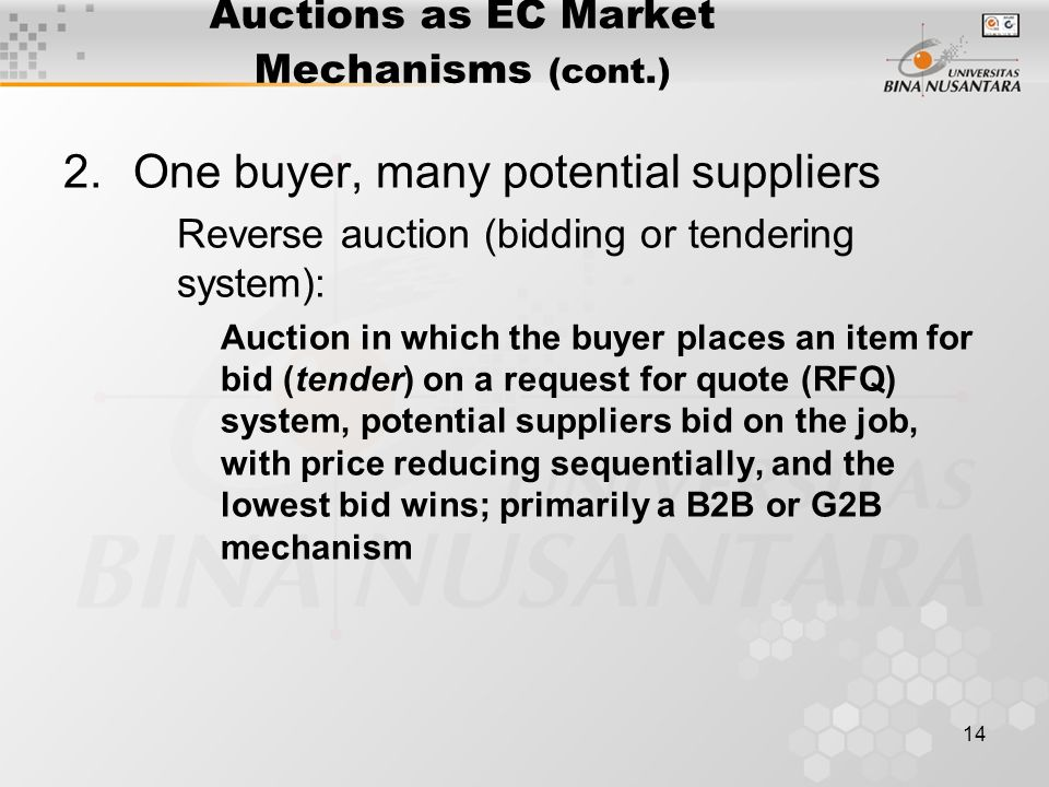 14 Auctions as EC Market Mechanisms (cont.) 2.One buyer, many potential suppliers Reverse auction (bidding or tendering system): Auction in which the buyer places an item for bid (tender) on a request for quote (RFQ) system, potential suppliers bid on the job, with price reducing sequentially, and the lowest bid wins; primarily a B2B or G2B mechanism