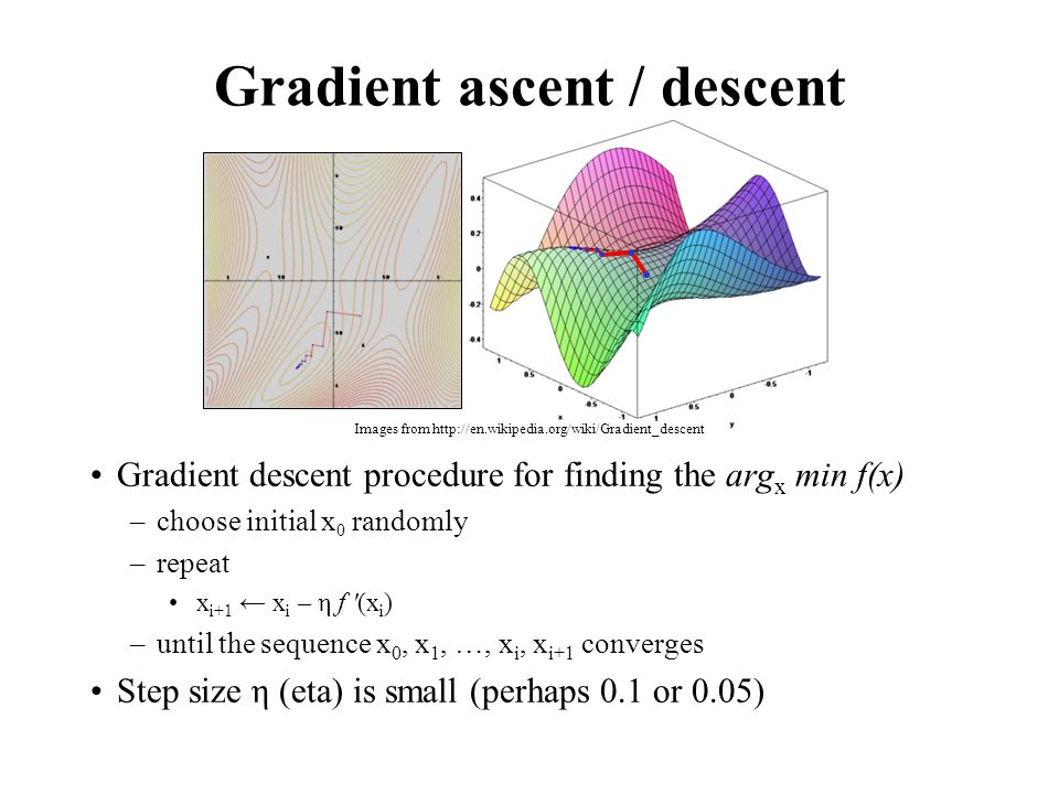 Gradient ascent / descent Gradient descent procedure for finding the arg x min f(x) –choose initial x 0 randomly –repeat x i+1 ← x i – η f (x i ) –until the sequence x 0, x 1, …, x i, x i+1 converges Step size η (eta) is small (perhaps 0.1 or 0.05) Images from